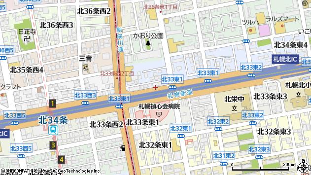 〒007-0834 北海道札幌市東区北三十四条東の地図