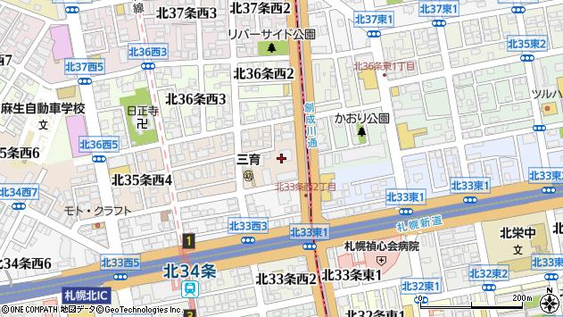〒001-0035 北海道札幌市北区北三十五条西の地図