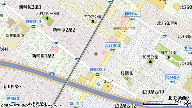 〒001-0902 北海道札幌市北区新琴似二条の地図