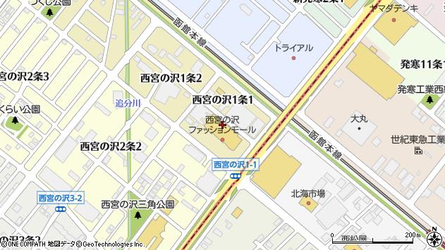 〒006-0001 北海道札幌市手稲区西宮の沢一条の地図