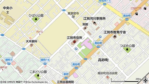 〒067-0000 北海道江別市(以下に掲載がない場合)の地図