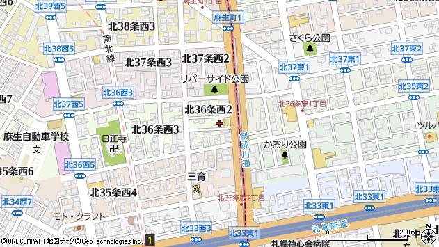 〒001-0036 北海道札幌市北区北三十六条西の地図