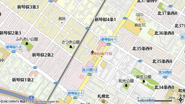 〒001-0903 北海道札幌市北区新琴似三条の地図