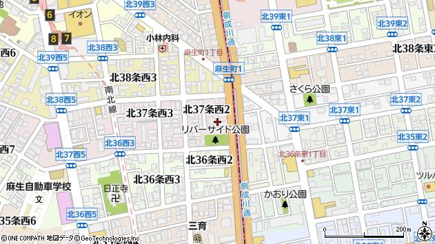 〒001-0037 北海道札幌市北区北三十七条西の地図