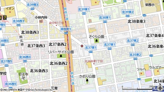 〒007-0837 北海道札幌市東区北三十七条東の地図