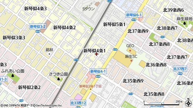 〒001-0904 北海道札幌市北区新琴似四条の地図