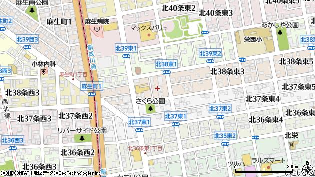 〒007-0838 北海道札幌市東区北三十八条東の地図