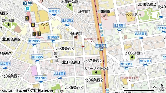 〒001-0038 北海道札幌市北区北三十八条西の地図