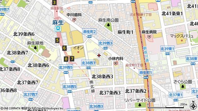 〒001-0039 北海道札幌市北区北三十九条西の地図