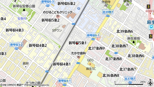〒001-0905 北海道札幌市北区新琴似五条の地図