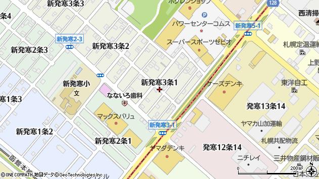 〒006-0803 北海道札幌市手稲区新発寒三条の地図