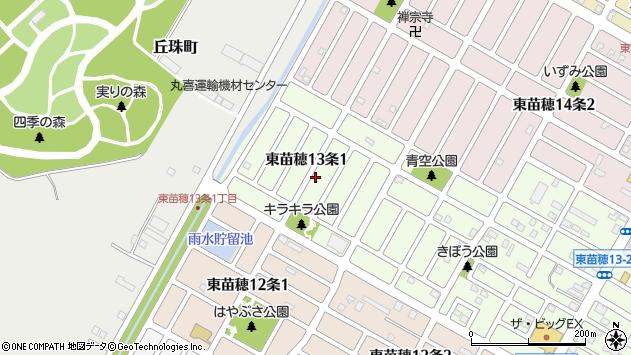 〒007-0813 北海道札幌市東区東苗穂十三条の地図