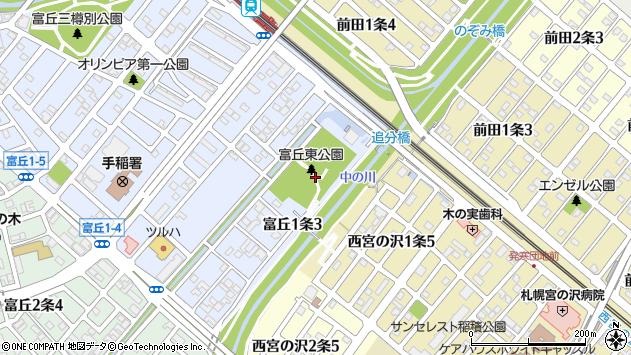 〒006-0011 北海道札幌市手稲区富丘一条の地図