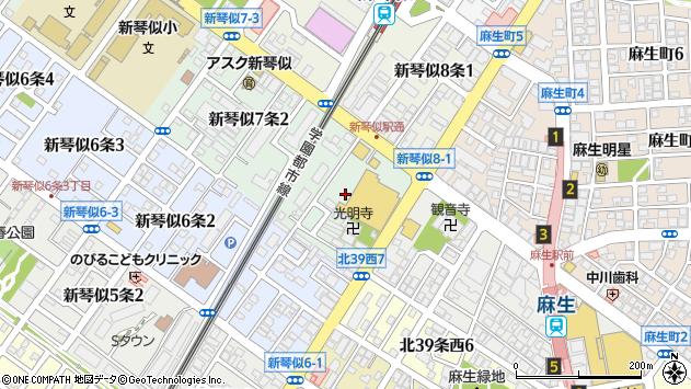 〒001-0907 北海道札幌市北区新琴似七条の地図