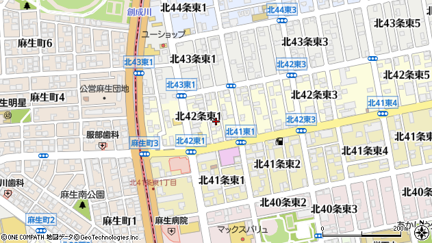 〒007-0842 北海道札幌市東区北四十二条東の地図