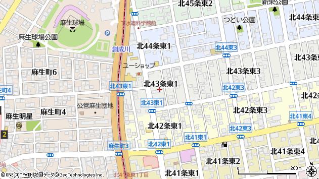 〒007-0843 北海道札幌市東区北四十三条東の地図