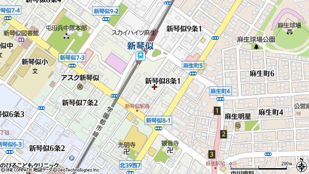 〒001-0908 北海道札幌市北区新琴似八条の地図