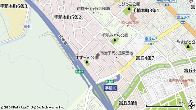〒006-0025 北海道札幌市手稲区手稲本町五条の地図