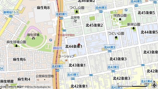 〒007-0844 北海道札幌市東区北四十四条東の地図