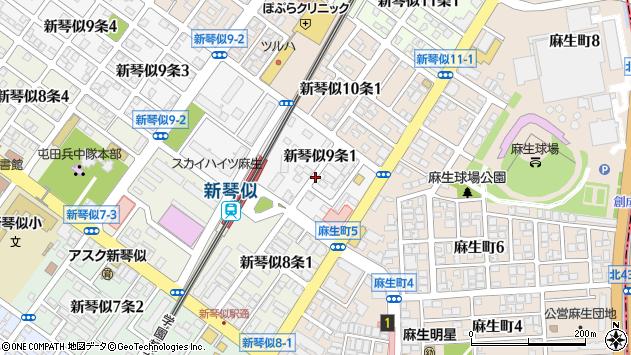 〒001-0909 北海道札幌市北区新琴似九条の地図