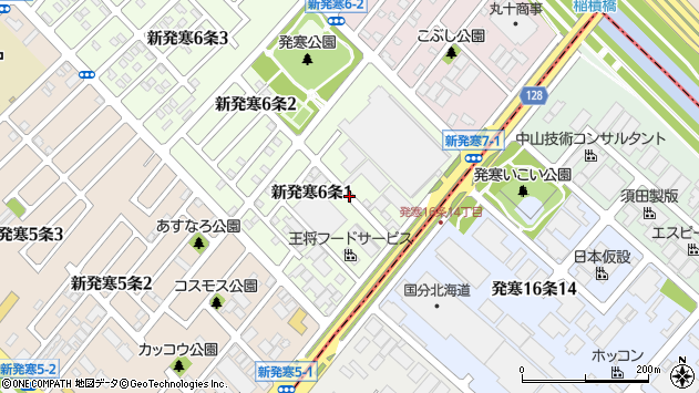 〒006-0806 北海道札幌市手稲区新発寒六条の地図