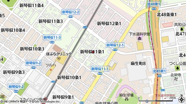〒001-0911 北海道札幌市北区新琴似十一条の地図