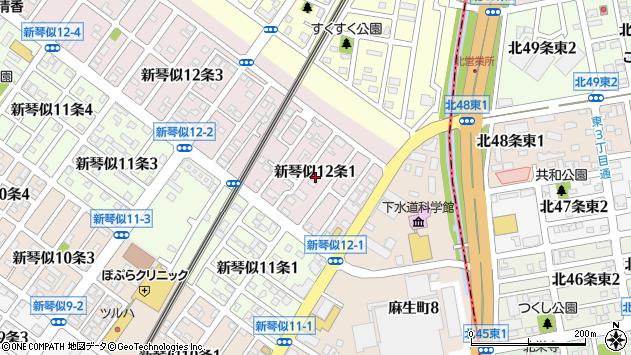 〒001-0912 北海道札幌市北区新琴似十二条の地図
