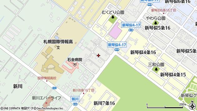 〒001-0928 北海道札幌市北区新川八条の地図