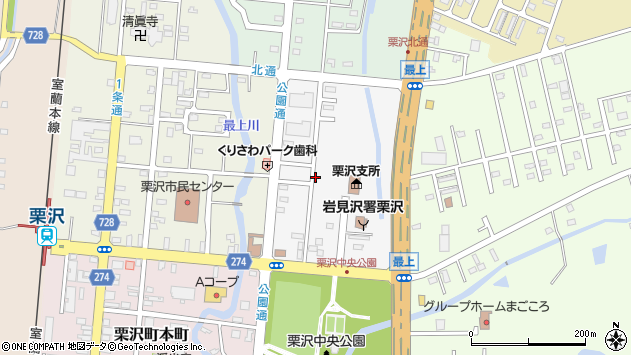 〒068-0123 北海道岩見沢市栗沢町東本町の地図