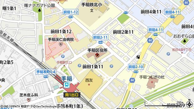 〒006-0000 北海道札幌市手稲区(以下に掲載がない場合)の地図