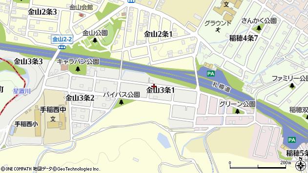 〒006-0043 北海道札幌市手稲区金山三条の地図