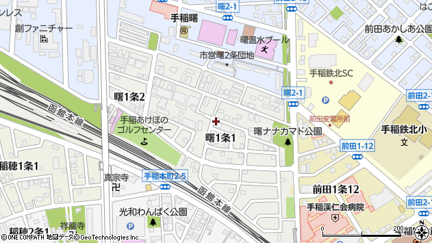 〒006-0831 北海道札幌市手稲区曙一条の地図