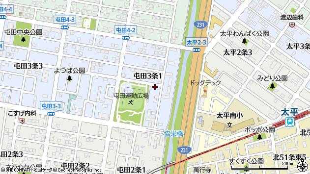 〒002-0853 北海道札幌市北区屯田三条の地図