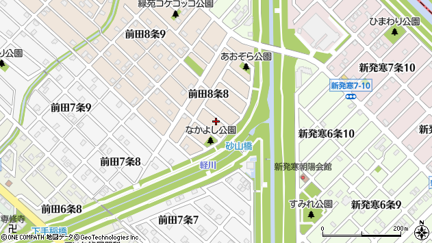 〒006-0818 北海道札幌市手稲区前田八条の地図