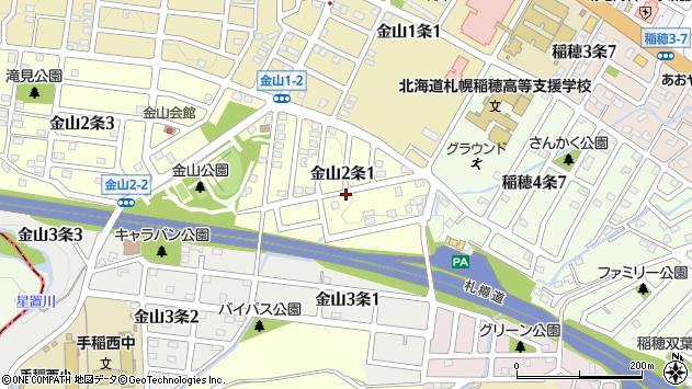 〒006-0042 北海道札幌市手稲区金山二条の地図