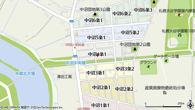 〒007-0004 北海道札幌市東区中沼四条の地図