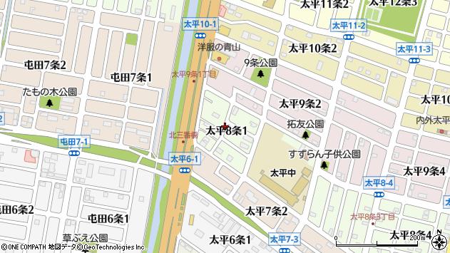 〒002-8008 北海道札幌市北区太平八条の地図