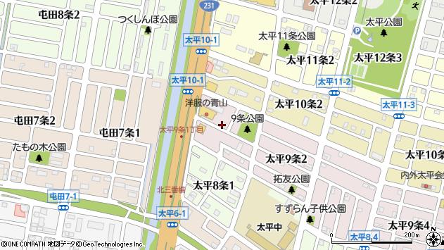 〒002-8009 北海道札幌市北区太平九条の地図