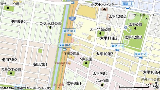 〒002-8010 北海道札幌市北区太平十条の地図