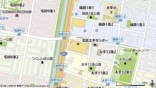 〒002-8012 北海道札幌市北区太平十二条の地図