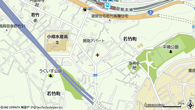 〒047-0001 北海道小樽市若竹町の地図