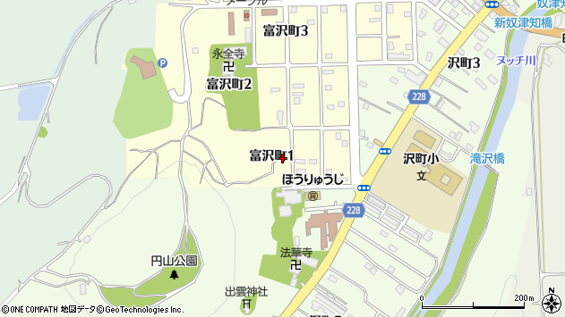 〒046-0025 北海道余市郡余市町富沢町の地図