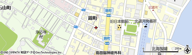 北海道小樽市錦町周辺の地図