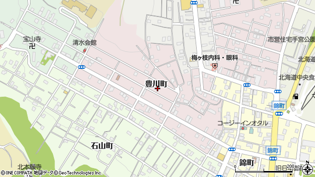 〒047-0043 北海道小樽市豊川町の地図