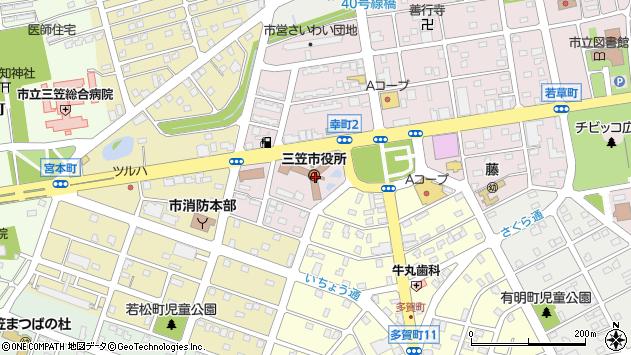 〒068-2100 北海道三笠市(以下に掲載がない場合)の地図