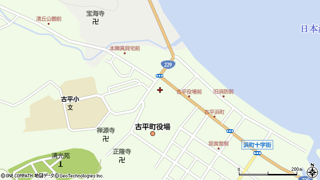 〒046-0100 北海道古平郡古平町(以下に掲載がない場合)の地図