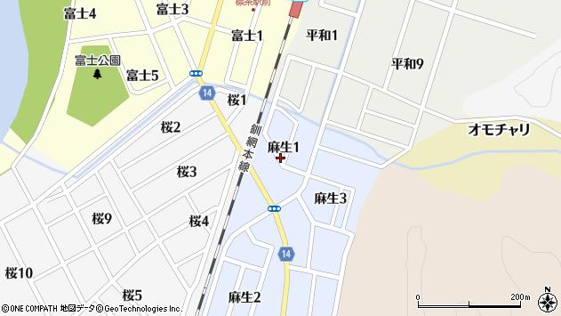 〒088-2305 北海道川上郡標茶町麻生の地図
