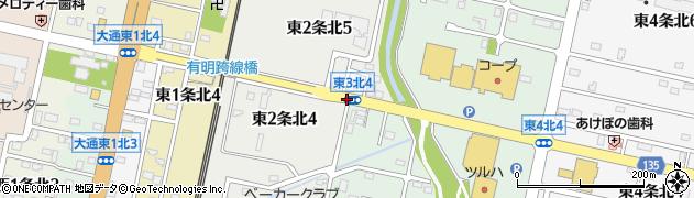 東2北5周辺の地図