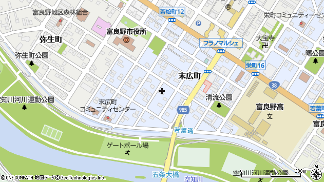 〒076-0011 北海道富良野市末広町の地図