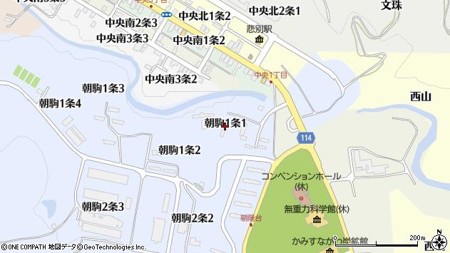 〒073-0205 北海道空知郡上砂川町朝駒の地図